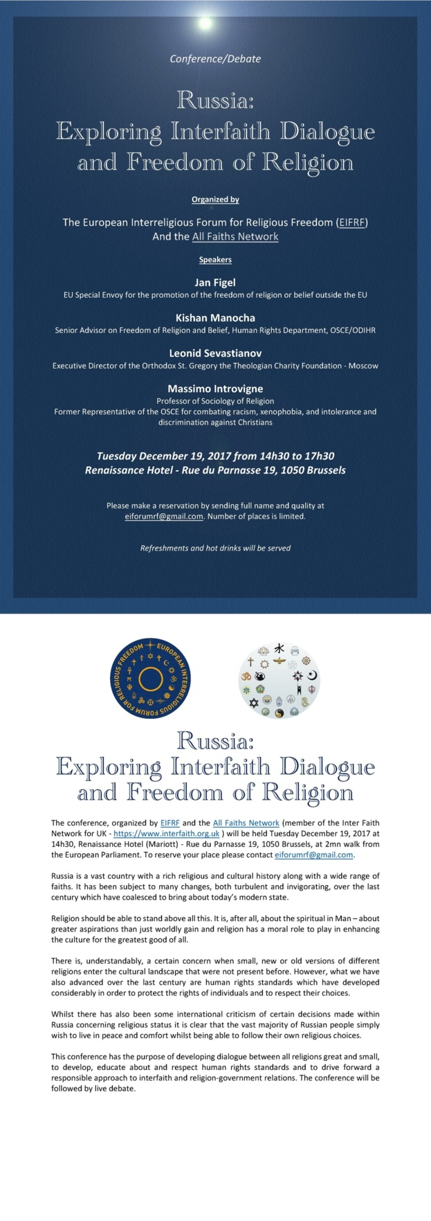 Russia:  Exploring Interfaith Dialogue  and Freedom of Religion - A conference and debate
