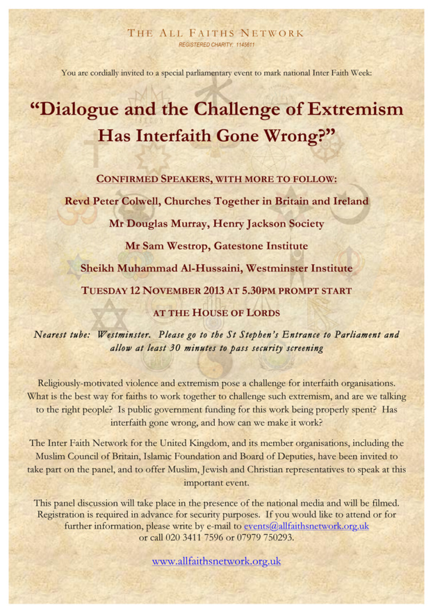 """Special parliamentary event in the House of Lords: """"Dialogue and the Challenge of Extremism - Has Interfaith Gone Wrong?"""""""