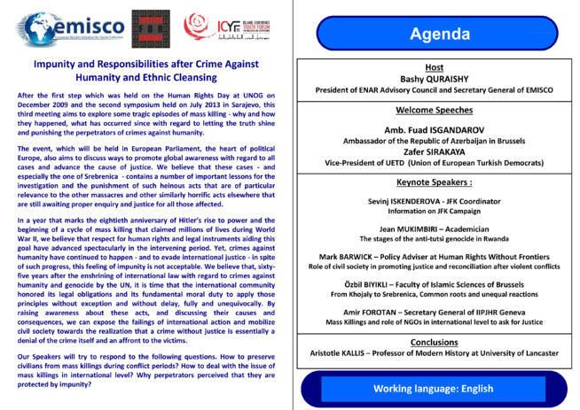 Event : Impunity and Responsibilities after Crime Against Humanity and Ethnic Cleansing