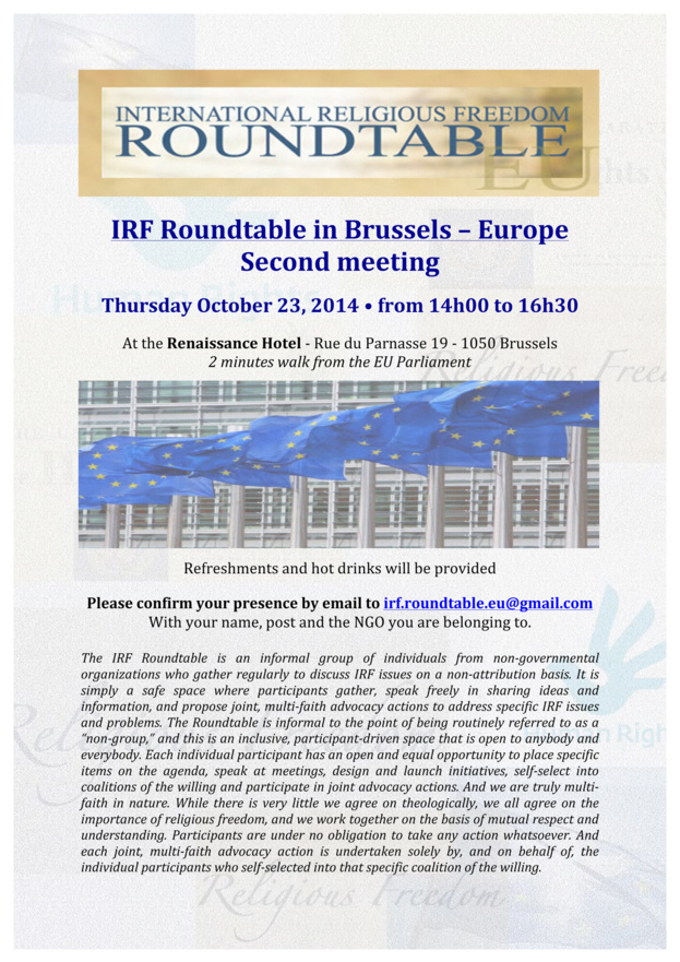 IRF Roundtable in Europe - Brussels - 23 october 2014