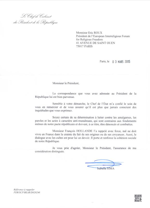 France : réponse du Président de la République à une lettre ouverte aux politiciens français