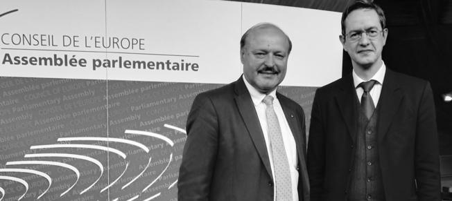 נשיא הפורום הבינדתי האירופי לחופש הדת, מר אריק רו, עם ולריו גילצ׳י