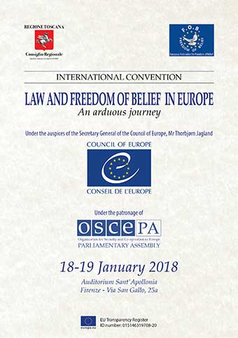 International Convention: Law and Freedom of Belief in Europe, an arduous journey