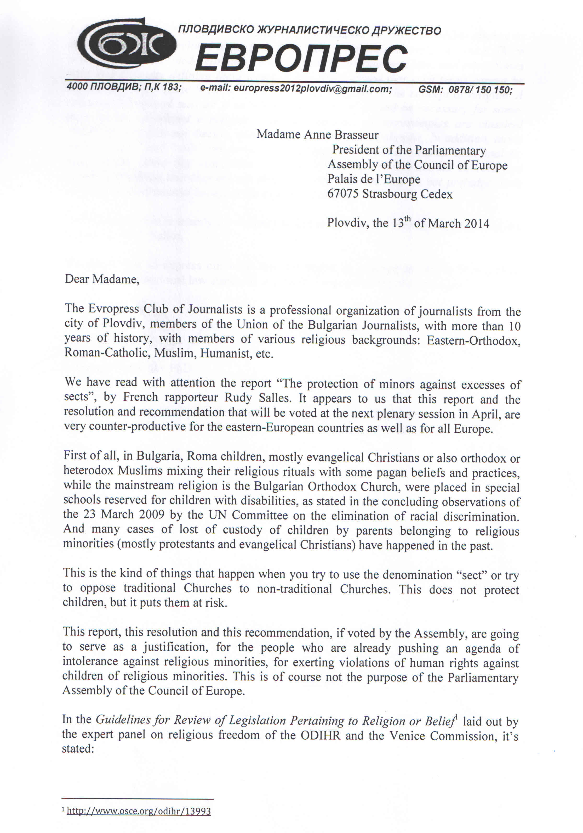 Bulgaria - Council of Europe, the Evropress Club of Journalists defends Freedom of Religion or Belief