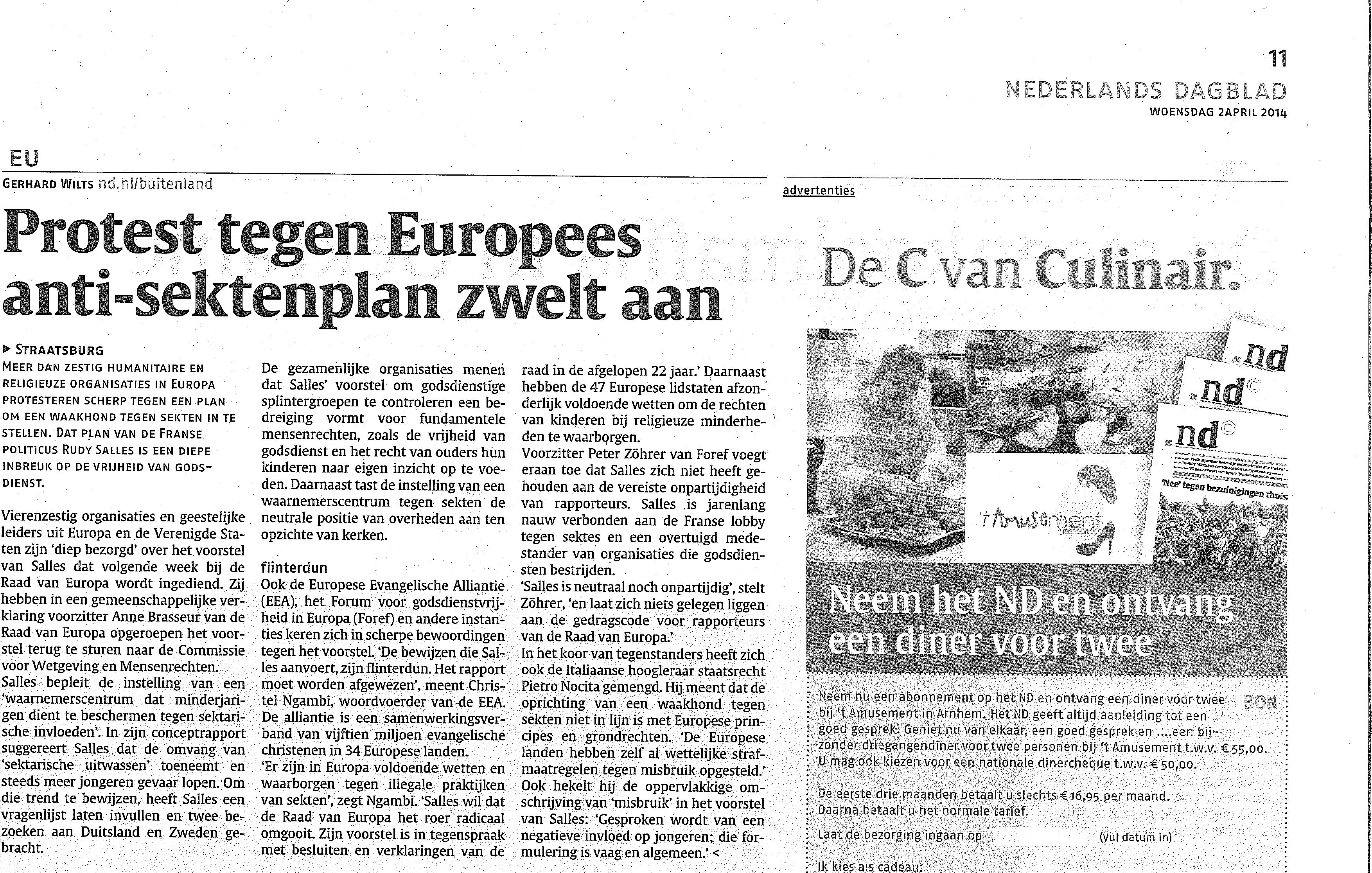 Nederlands Dagblad newspaper article on Religious Freedom at stake at PACE